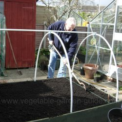 Making groove for sowing seed